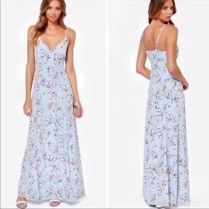 NWT • BB Dakota Elvya Blue Floral Maxi Dress
